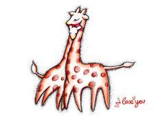 láska žirafa vektor