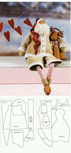 Artesanatos com Moldes: papai noel Christmas Sewing, Father Christmas, Christmas Crafts, Christmas Patterns, Christmas Projects, Holiday Crafts, Tilda Toy, Primitive Santa, Santa Doll