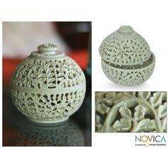 NOVICA Natural Soapstone Jar in Handcarved Jali Openwork ($43) ❤ liked on Polyvore