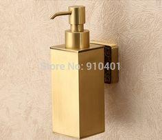 Antique Brass Wall Mounted Bathroom Touch Soap Dispenser Kitchen Soap Box Liquid Shampoo Bottle(China (Mainland))