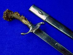 Antique 19 Century German or French Engraved Hunting Dagger Knife Knives w/ Scabbard