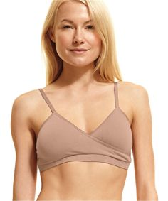 defdfcb6bac6e This crossover style bra features pockets for optional soft cups for extra  shape and coverage. It s a pull-on style with satin elastic straps and  edging.