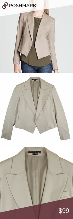 "THEORY Stone Beige Bi-Stretch Wool JOJI Jacket Excellent condition! This stone beige bi-stretch wool jacket from Theiry features an open front style and is fully lined. Style is called JOJI. Made of 99% wool and 1% Lycra. Measures: bust: 36"", total length: 23"", sleeves: 24"" Theory Jackets & Coats Blazers"
