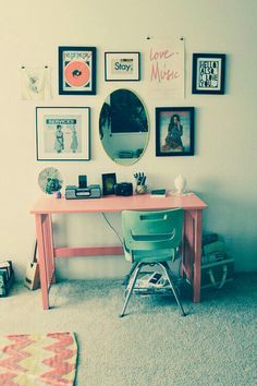 desk ideas.....why not a painted table and pictures???
