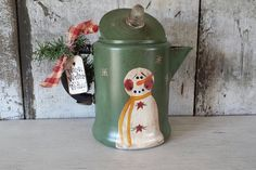 Primitive Country Snowman on Vintage Coffee by FlatHillGoods