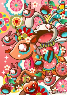 Love Caramelaw's acid-trip bright colors and that her squee creatures have fangs.