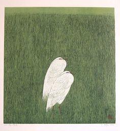 """yama-bato: """" Green Grass Field by Yu Chengyou born 1953 """" Deco Paint, Bird People, Grass Field, Art For Art Sake, 2d Art, Gravure, Green Grass, Woodblock Print, Famous Artists"""