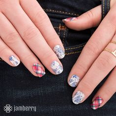 With intricately detailed blue-and-white botanicals, this 'Fine China' and 'Highlander' Jamberry nail wrap summer manicure is effortlessly elegant.  Get the look at heatherhanshew.jamberry.com