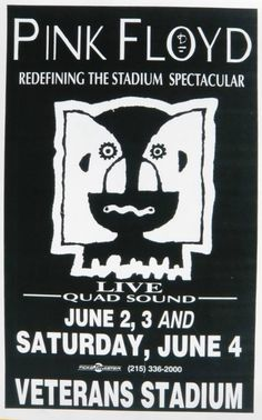 Pink Floyd - Philadelphia Concert - Live at Veterans Stadium (Jene Pink Floyd Tour, Pink Floyd Live, Tour Posters, Band Posters, Music Posters, Rock N Roll, Musica Punk, Pink Floyd Concert, Pink Floyd Poster