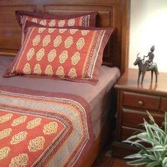 Red Orange Moroccan bedroom.