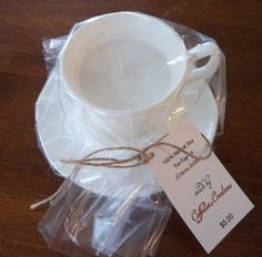 All Natural Soy Candle in Vintage Tea Cup  Saucer Set ~  Crème brûlée ~ Special Christmas Price on Etsy, $5.00