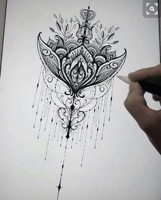 This would be such a good tatoo idea tbh Back Tattoos, Future Tattoos, Body Art Tattoos, Mandala Thigh Tattoo, Sternum Tattoo, Tattoo Thigh, Tattoo Painting, Tattoo Designs, Tattoo Ideas