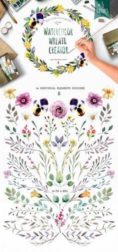 Watercolour elements. Wreath creator - Illustrations