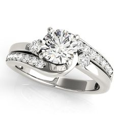 Engagement Ring -Three Stone Swirl Diamond Engagement Ring-ES1638