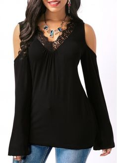 Black Lace Panel V Neck T Shirt on sale only US$29.69 now, buy cheap Black Lace Panel V Neck T Shirt at liligal.com