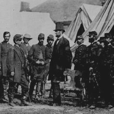 President Abraham Lincoln visiting General George McClellan. Antietam, Maryland 1862