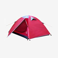 VCAMPVT7001 Waterproof Double Layer 2 Person 4 Season Aluminum Rod Double Skylight Automatic Outdoor Camping TentWith LED Camping Lamp and Aluminum foil pads *** Read more reviews of the product by visiting the link on the image. (This is an affiliate link) #CampingTents