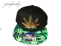 633a3716 Weed snapback caps, cannabis marijuana flat peak baseball hats gold metal  leaf s #DOPESNAPBACKSMENSLADIES