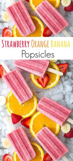 Summer's approaching fast and these Strawberry Orange Banana Popsicles make a yummy, delicious treat the kids (and adults) are sure to enjoy all summer long!