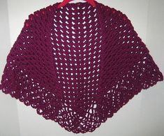This is an easy, half a granny shape that will form a triangular shawl.