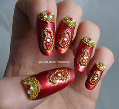 The Lacquer Legion Challenge - Bollywood Glam nail art