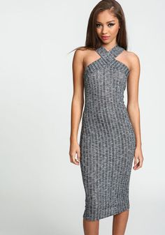 X Front Ribbed Knit DressX Front Ribbed Knit Dress, HEATHER GREY
