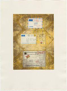 Bea Maddock | Mail, 1976 | ink; paper photo-etching, aquatint and softground etching, printed in colour, from seven plates; collage additions | NGA