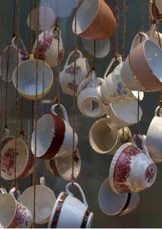 vintage tea cup window display
