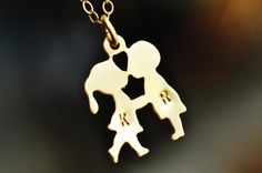 FIRST KISS boy and girl kissing necklace with two by muyinmolly, $35.00 -  This is sooo sweet! what a great gift!