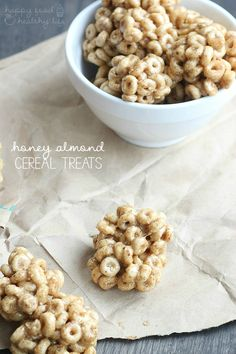 3-Ingredient Honey Almond Cereal Treats - Happy Food, Healthy Life