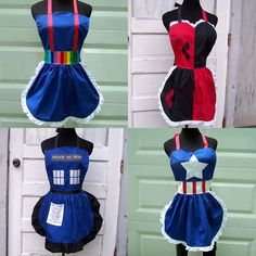 Cosplay Aprons Rainbow Brite, Harley Quinn, Police Box and Captain America Costume and Cooking