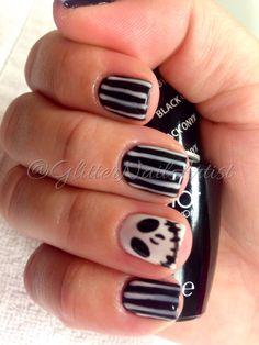 Jack the skeleton | Halloween nails - black and white - OPI GelColor - gel polish - gel manicure - Halloween nail art ideas