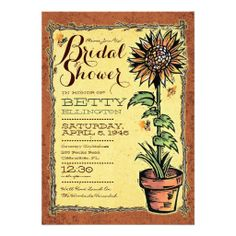 """Rustic Sunflower Bridal Shower Invitations    A perfect Bridal Shower invitation for a garden or country celebration. Sweet sunflower and honeybee invitations. Customize the text to suit your event by clicking the """"CUSTOMIZE IT!"""" button."""