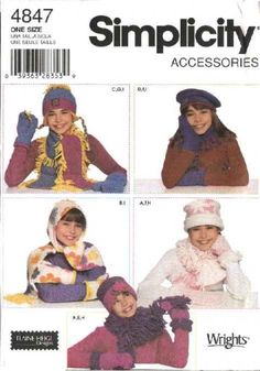 Simplicity Sewing Pattern 4847 Girls Fleece Hats, Scarves Mittens Fashion Accessories   Simplicity+Sewing+Pattern+4847+Girls+Fleece+Hats,+Scarves++Mittens+Fashion+Accessories