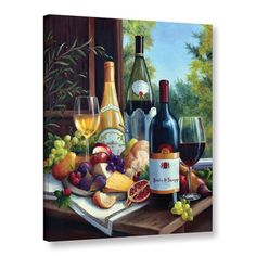 Charlton Home Still Life with Wines Graphic Art on Wrapped Canvas Wine Wall Art, Wine Art, Home Still, Still Life, Wine With Ham, Wine Painting, Variety Of Fruits, Tile Murals, Ceramic Decor