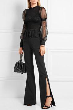 Alexander McQueen   Embroidered smocked silk-blend tulle blouse   NET-A-PORTER.COM