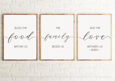 Set of 3 Printable Bless the food before us Dining Room Decor Kitchen wall art Kitchen Decor Kitchen signs Bible verse wall art. Kitchen Signs, Kitchen Wall Art, Kitchen Decor, Kitchen Quotes, Room Kitchen, Bible Verse Wall Art, Wall Art Quotes, Bless The Food, Printable Bible Verses