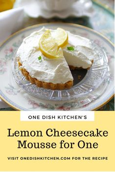 This lemon cheesecake mousse is a light and creamy, no-bake dessert that's got the perfect balance of tart and sweet. Lemon Cheesecake, Kitchen Dishes, Camembert Cheese, Mousse, Pudding, Desserts, Recipes, Food, Lime Cheesecake