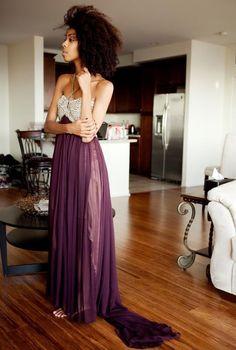 purple skirt + natural hair