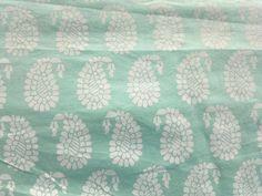 Cotton Block Print Paisley Floral Indian Fabric Sea Green