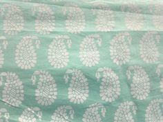 Cotton Block Print Paisley Floral Indian Fabric Sea Green