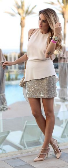 #nude #neutrals #spring #style #outfitideas | Nude And Sparkle Party Style | Mungolife