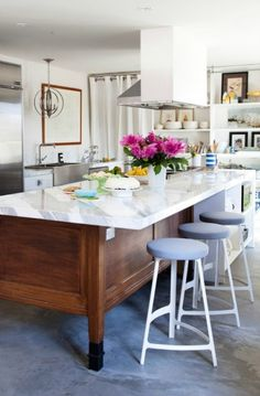 Love The Old Display Cabinet Turned Island In This Kitchen. House Lust:  Lakeside Bungalow