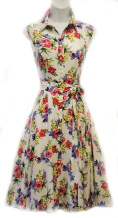 New-1940s-1950s-Style-Classic-English-Floral-Shirt-Tea-Dress-by-Rosa-Rosa
