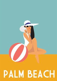 Poster prints are a fun, affordable way to add art to your bedroom walls. Interiors Addict Jen Bishop suggests some favourites. Palm Beach Florida, Palm Beach County, Old Florida, Florida Style, Bedroom Posters, Bedroom Art, Road Trip Usa, Illustrations Vintage, Pub Vintage