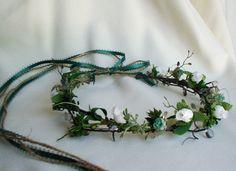 Bridal party accessories teal headpiece Flower crown Renaissance Bridal Head Crown, hair wreath, Celtic Headpiece Wedding. $42.95, via Etsy.