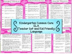 Freebie for my Kindergarten friends! This is a PDF of the Common Core State Reading Standards for Kindergarten. I included the standards along with kid friendly language. The kid frien...