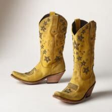 Follow your dreams in these embroidered, studded leather boots by Liberty Black.