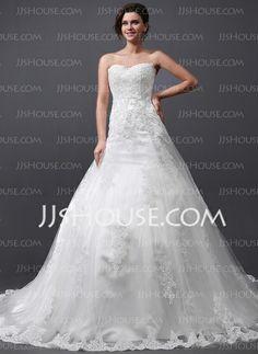 Bröllopsklänningar - $362.99 - A-linjeformat Hjärtformad Chathedral-släp tyll Bröllopsklänning med Spets (002030758) http://jjshouse.com/se/A-Linjeformat-Hjartformad-Chathedral-Slap-Tyll-Brollopsklanning-Med-Spets-002030758-g30758
