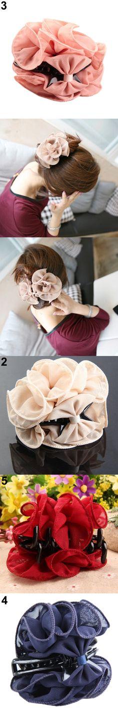 Hot Hot Sweet Women's  Rose Flower Beauty Bow  Chiffon  Jaw Clip Barrette Hair Claw Hairwear   GD183 5BVT 7EPC